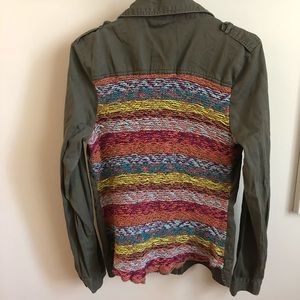 BKE buckle  LARGE utility jacket woven back embell